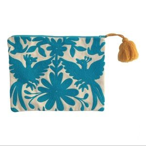 Embroidered turquoise canvas pouch / clutch/ bag
